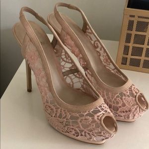 Zara Woman Lace Pump in Blush Pink